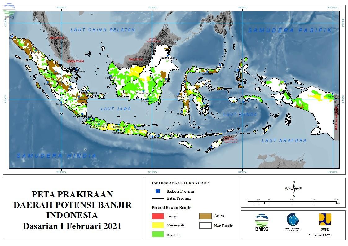 Prakiraan Daerah Potensi Banjir Dasarian I - III Februari 2021