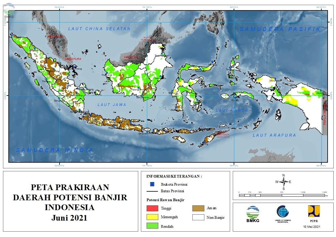 Prakiraan Daerah Potensi Banjir Bulan Juni, Juli dan Agustus 2021