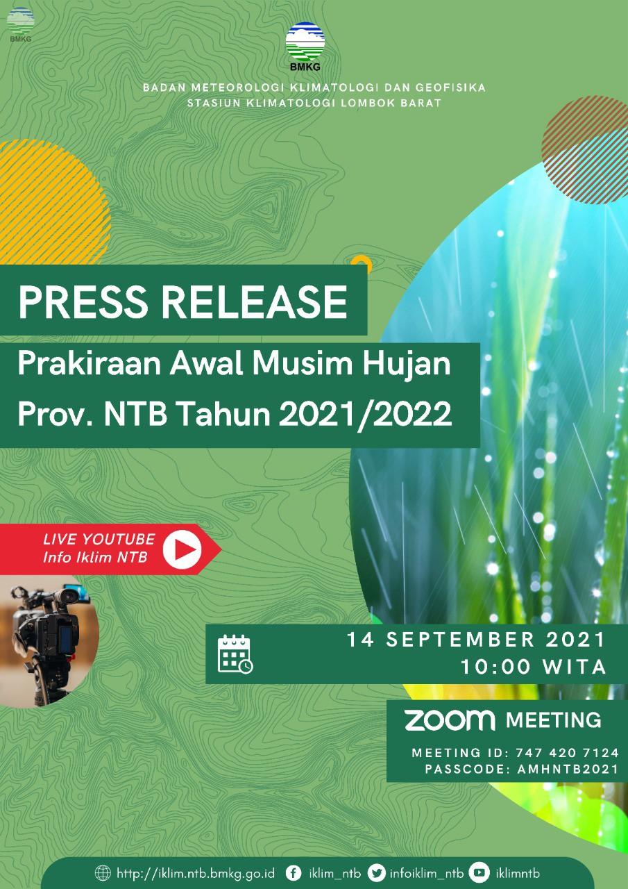 Staklim Lombok Barat Gelar Press Release Prakiraan Awal Musim Hujan Provinsi NTB Tahun 2021/2022
