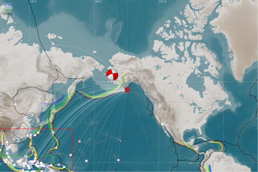 Gempabumi Gulf of Alaska Tanggal 23 Januari 2018 Berkekuatan Mwp 7,8 Tidak Berpotensi Tsunami di Wilayah Indonesia
