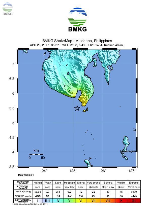 Press Release Gempabumi Selatan Filipina Kekuatan Magnitude 7.1 Tanggal 29 April 2017
