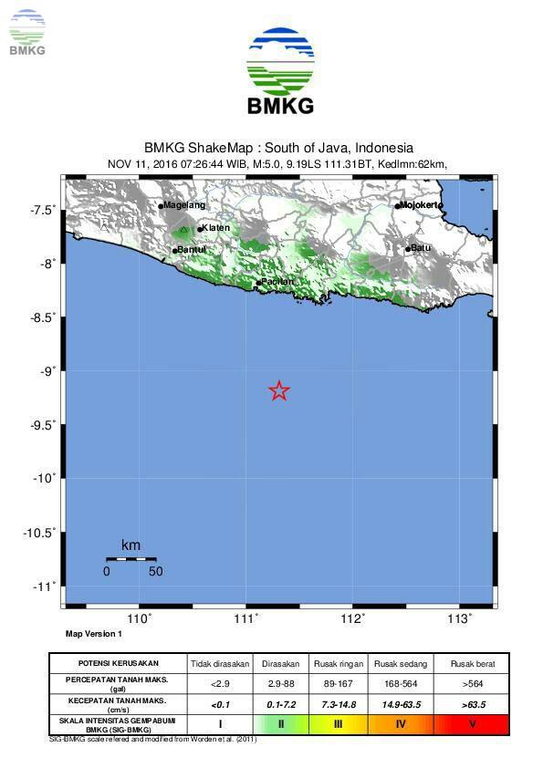Gempabumi Kembali Guncang Wilayah Selatan Yogyakarta dan Jawa Timur, Tidak Berpotensi Tsunami