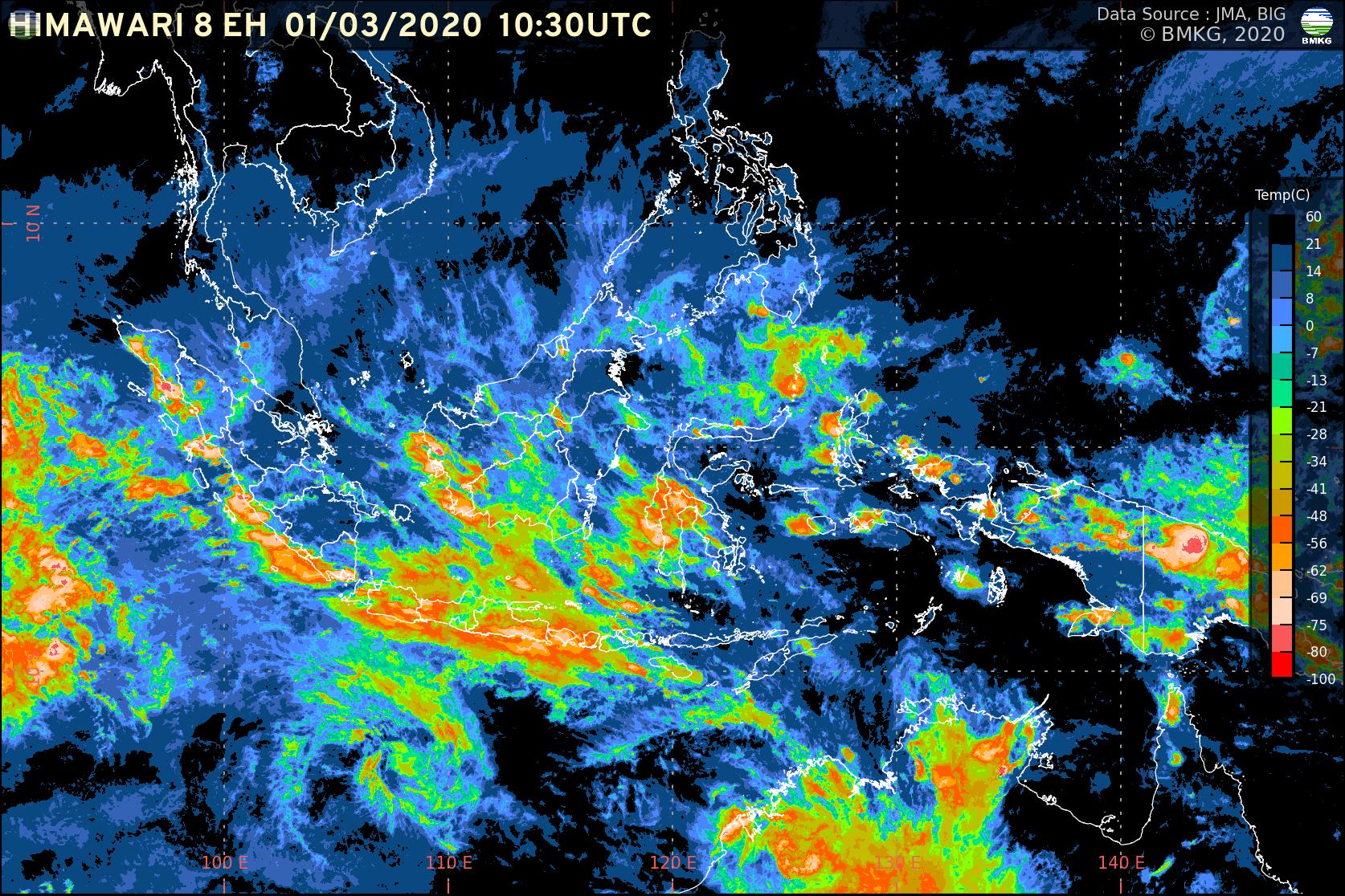 Pemutakhiran Siaran Pers: Waspada Potensi Hujan Lebat (1 Maret-7 Maret 2020)