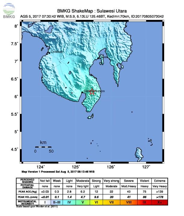 Gempabumi Tektonik M 5.9 Guncang Mindanao Filipina, Dirasakan Hingga Wilayah Indonesia