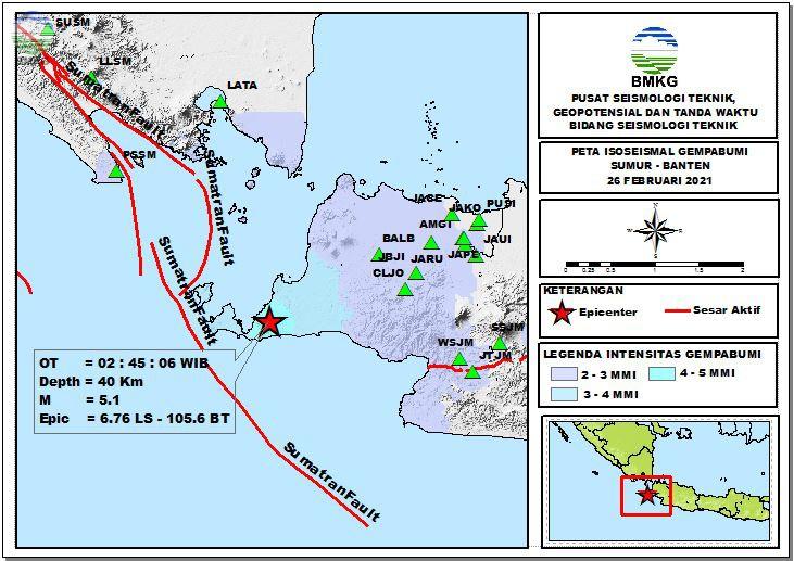 Peta Isoseismal Gempabumi Sumur- Banten, 26 Februari 2021