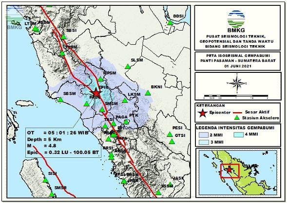 Peta Isoseismal Gempabumi Panti Pasaman, Sumatera Barat 01 Juni 2021