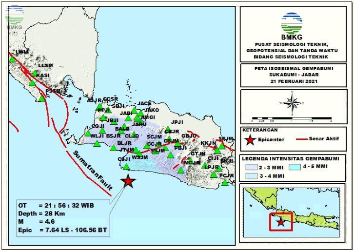 Peta Isoseismal Gempabumi Sukabumi - Jabar, 21 Februari 2021