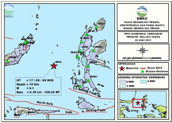 Peta Isoseismal Gempabumi Ternate, Maluku Utara 03 Juni 2021