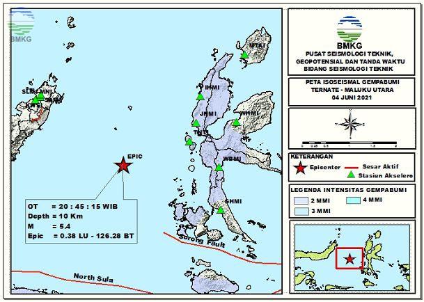 Peta Isoseismal Gempabumi Ternate, Maluku Utara 04 Juni 2021
