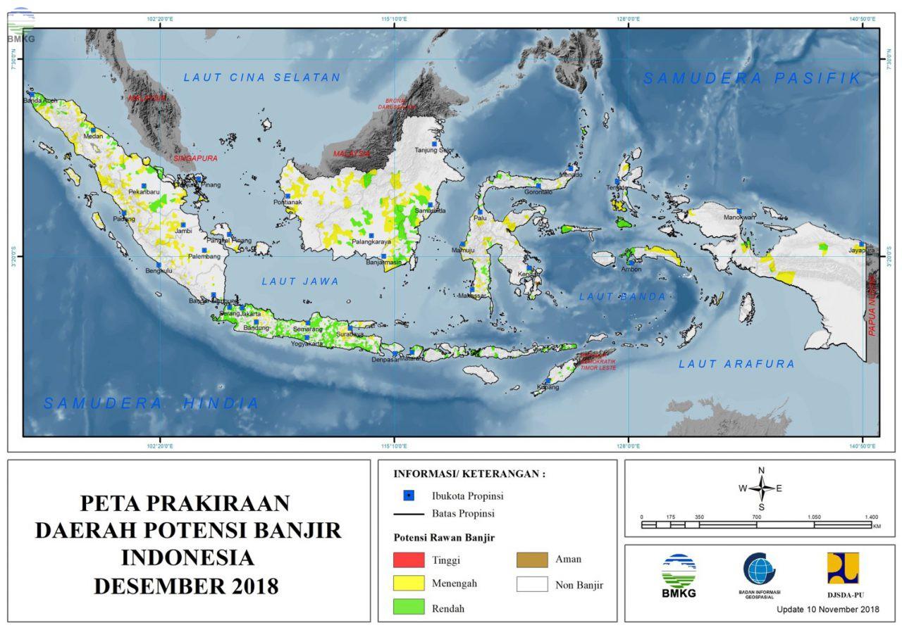 Peta Potensi Banjir Bulan Desember 2018, Januari dan Februari 2019