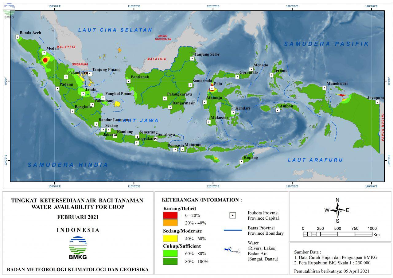 Tingkat Ketersediaan Air Bagi Tanaman - Februari 2021
