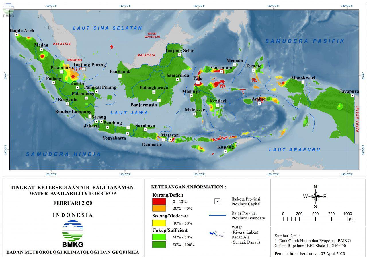 Tingkat Ketersediaan Air Bagi Tanaman - Februari 2020