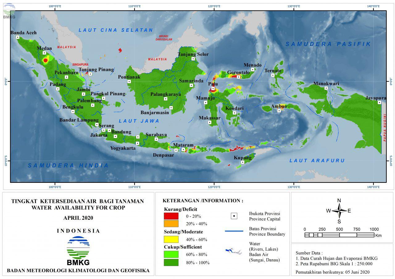 Tingkat Ketersediaan Air Bagi Tanaman - April 2020
