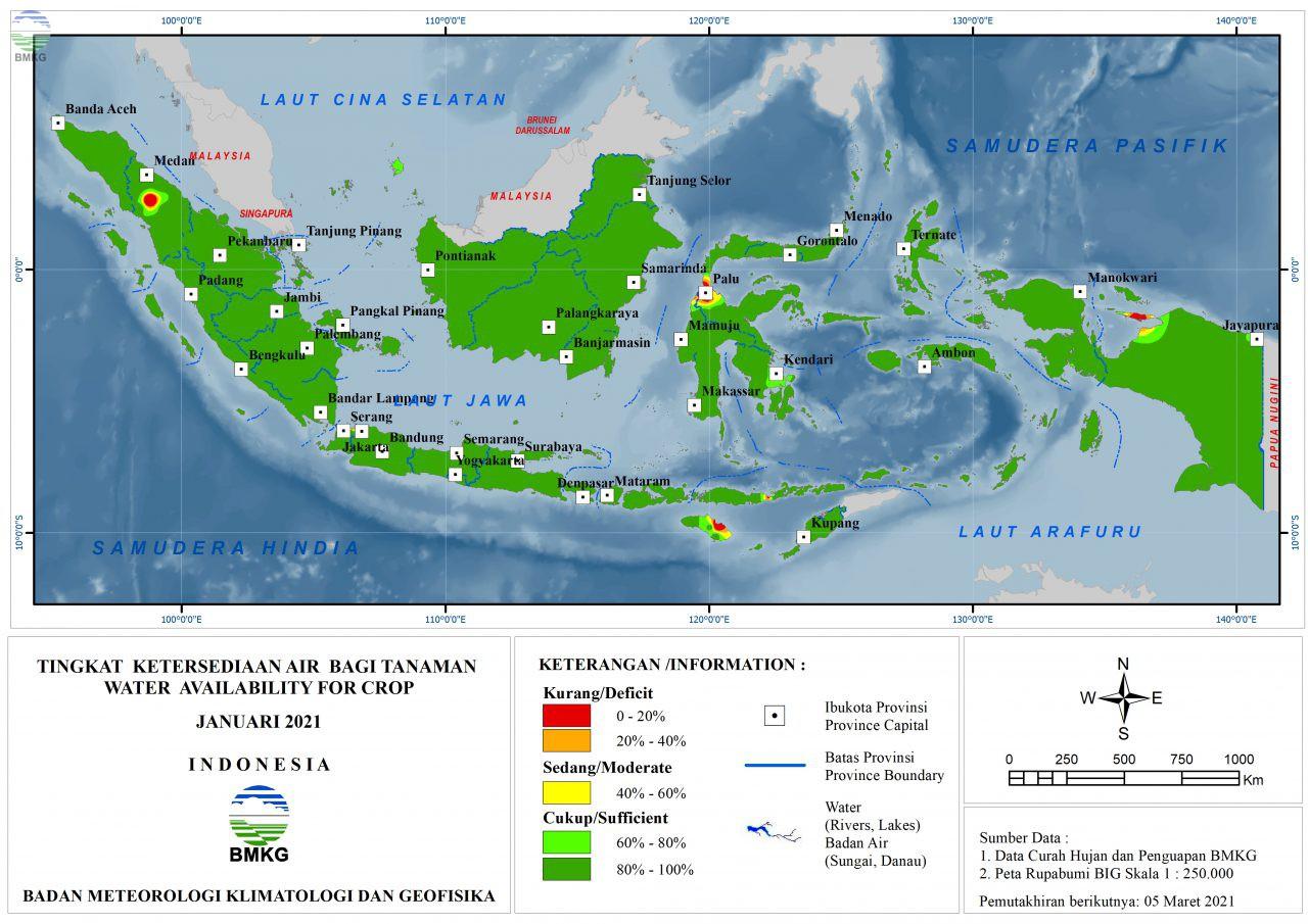 Tingkat Ketersediaan Air Bagi Tanaman - Januari 2021