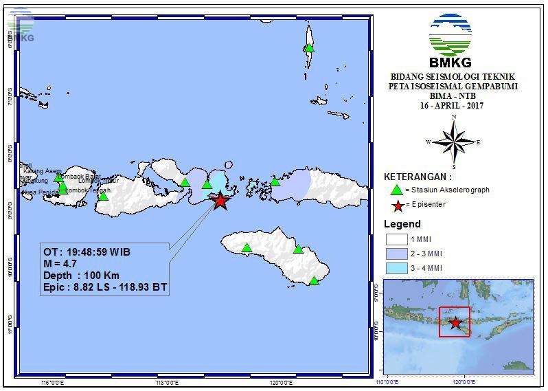Peta Isoseismal Gempabumi BIMA - NTB 16 April 2017