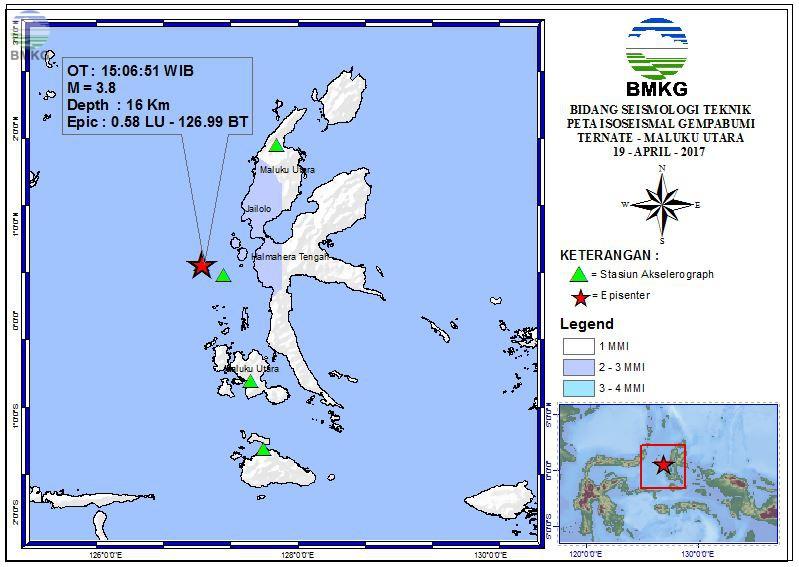Peta Isoseismal Gempabumi Ternate - Malut 19 April 2017