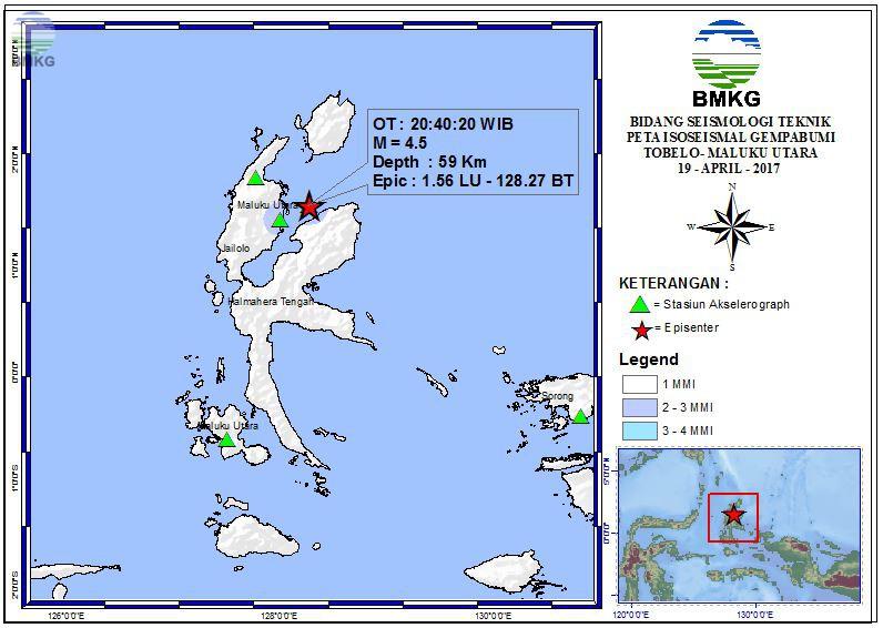 Peta Isoseismal Gempabumi Tobelo - Maluku Utara 19 April 2017
