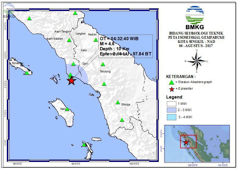 Peta Isoseismal Gempabumi Singkil - NAD 06 Agustus 2017