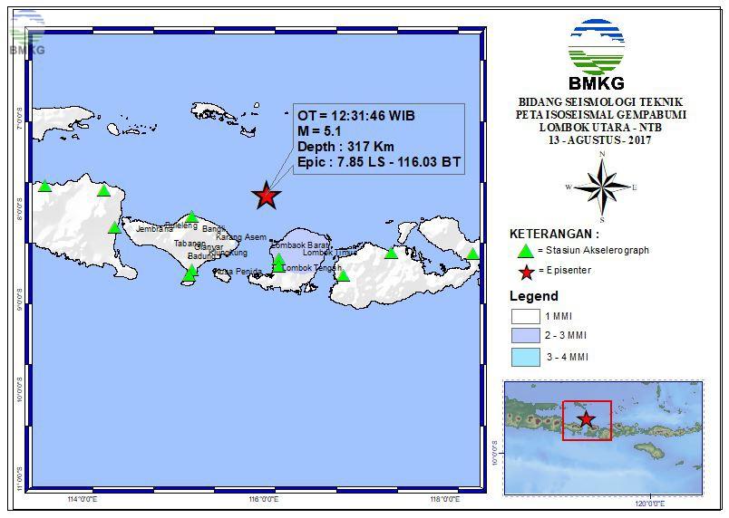 Peta Isoseismal Gempabumi Bengkulu Utara - Bengkulu 13 Agustus 2017