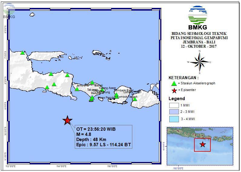 Peta Isoseismal Gempabumi Kota Sukabumi - Jabar 11 Oktober 2017