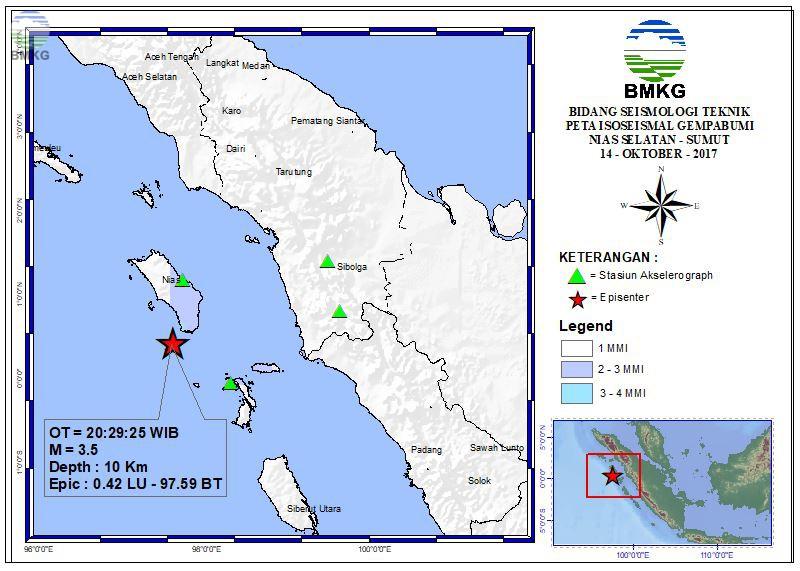 Peta Isoseismal Gempabumi Jembrana - Bali 12 Oktober 2017