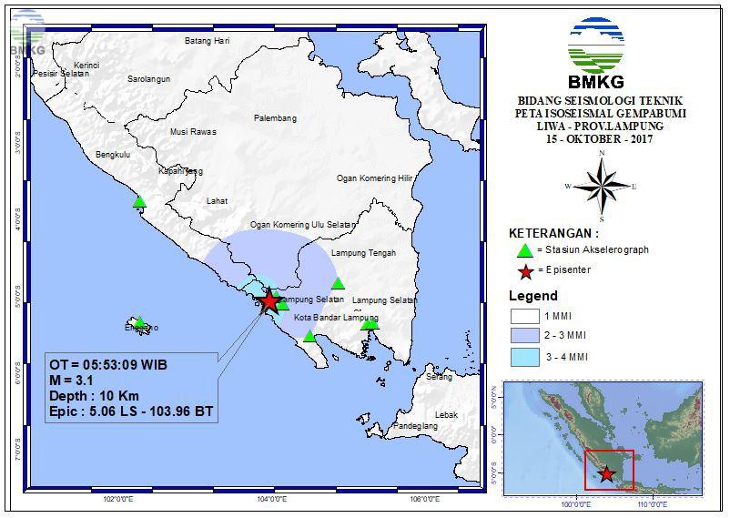 Peta Isoseismal Gempabumi Kepahiang - Bengkulu 15 Oktober 2017