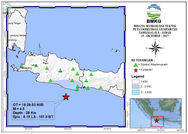 Peta Isoseismal Gempabumi Liwa - Prov. Lampung 15 Oktober 2017