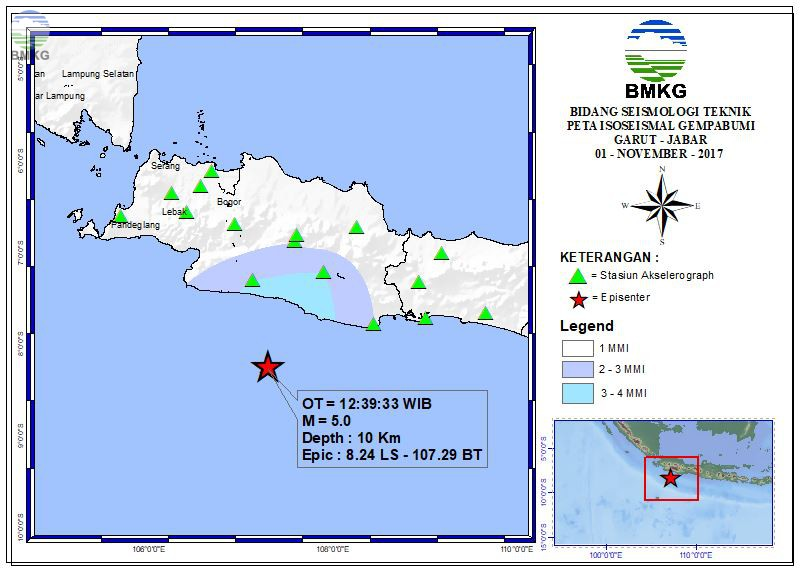 Peta Isoseismal Gempabumi Tagulandang Biaro - Sulut 01 November 2017