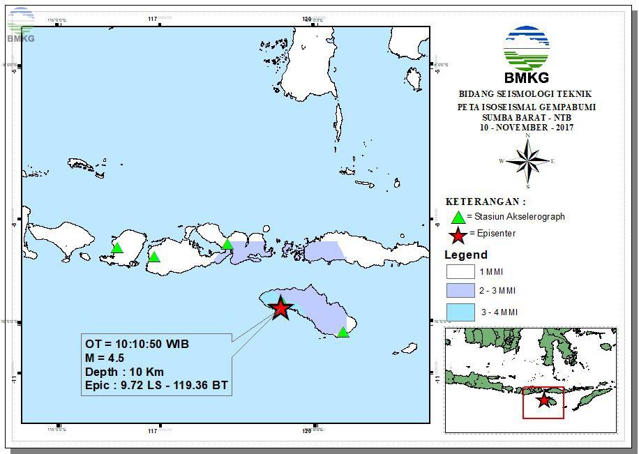 Peta Isoseismal Gempabumi Halmahera Barat - Maluku Utara 09 November 2017