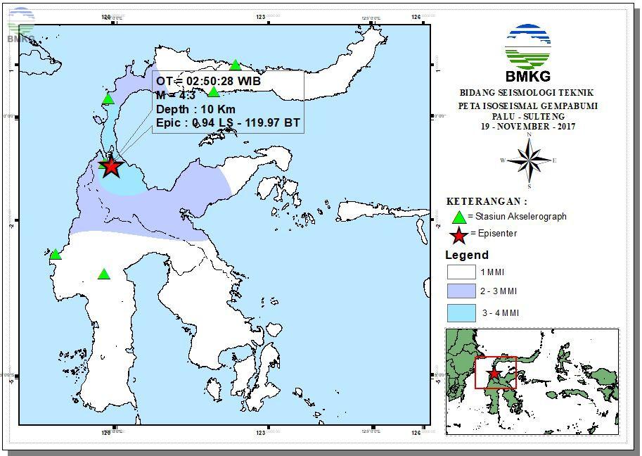 Peta Isoseismal Gempabumi Bitung -Sulut 11 November 2017