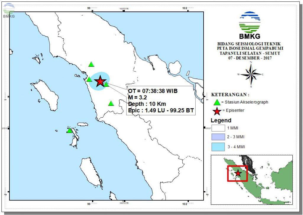 Peta Isoseismal Gempabumi Donggala - Sulteng 06 Desember 2017