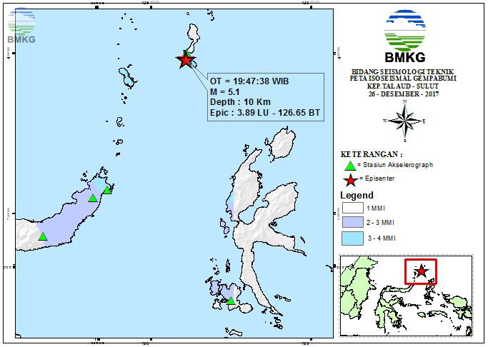 Peta Isoseismal Gempabumi Kep.Talaud - Sulut 26 Desember 2017