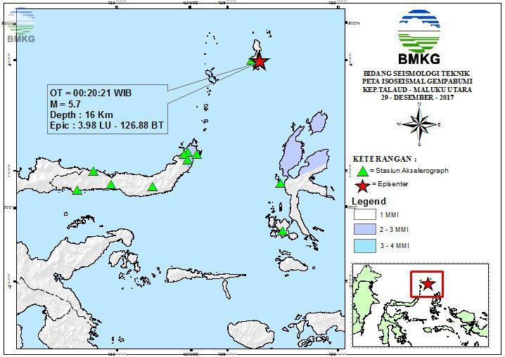 Peta Isoseismal Gempabumi Kep.Talaud - Maluku Utara 29 Desember 2017