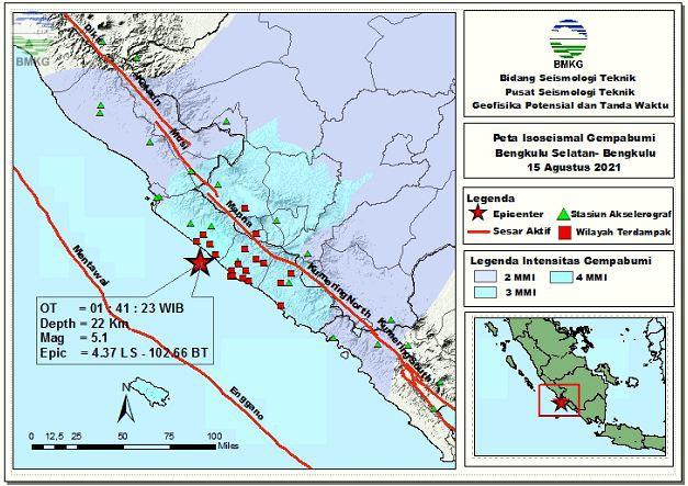Peta Isoseismal Gempabumi Padang Lawas, Sumatera Utara 11 Agustus 2021