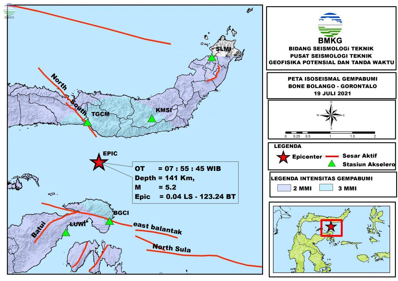 Peta Isoseismal Gempabumi Bone Bolango, Gorontalo 19 Juli 2021