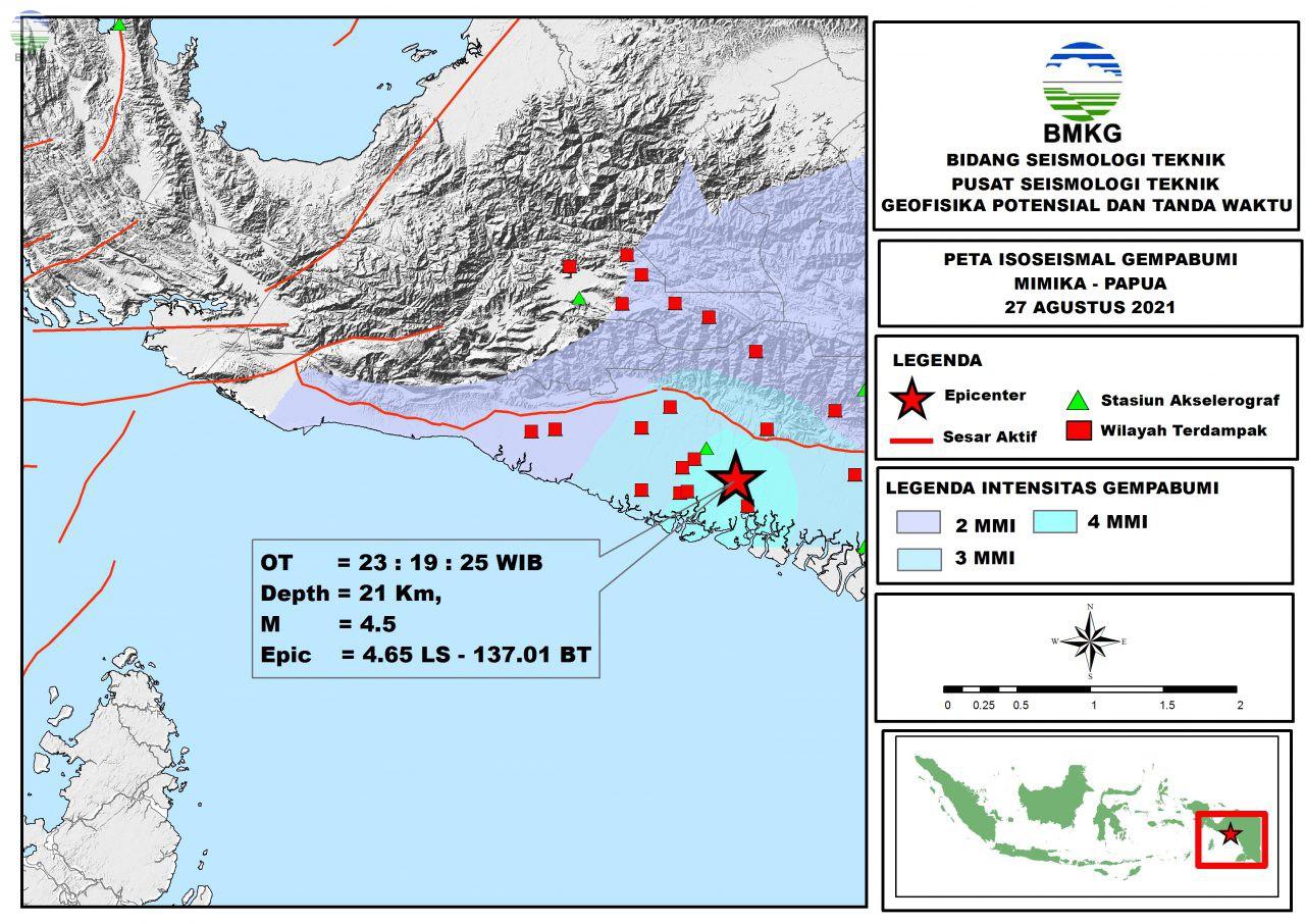 Peta Isoseismal Gempabumi Mimika, Papua 27 Agustus 2021