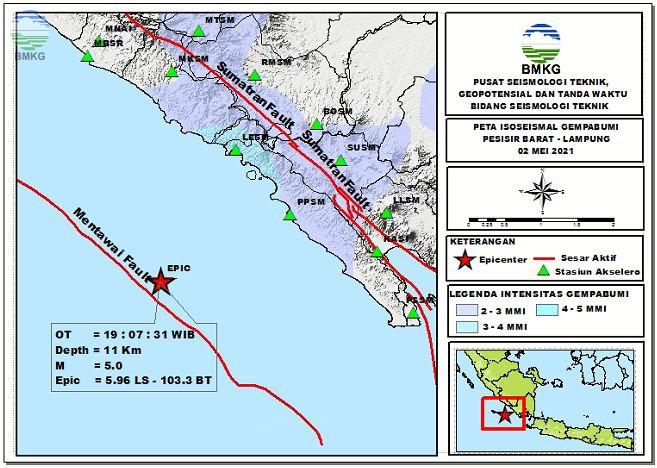 Peta Isoseismal Gempabumi Pesisir Barat, Lampung 02 Mei 2021
