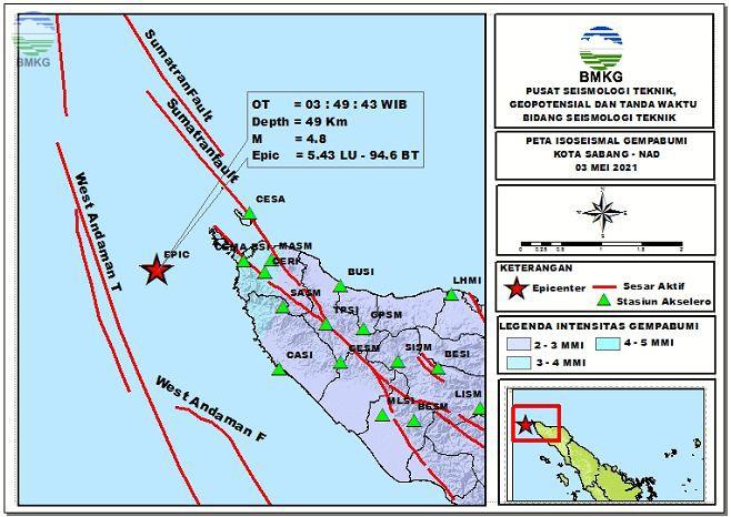 Peta Isoseismal Gempabumi Kota Sabang, NAD 03 Mei 2021