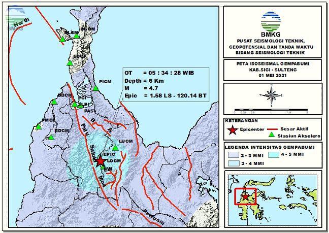Peta Isoseismal Gempabumi Kab.Sigi, Sulteng 01 Mei 2021