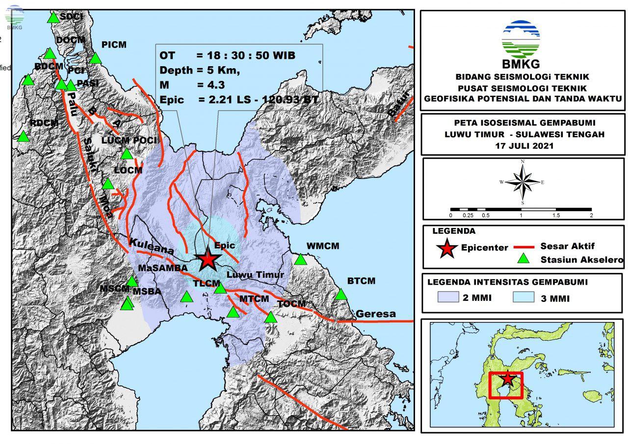 Peta Isoseismal Gempabumi Luwu Timur, Sulawesi Tengah 17 Juli 2021