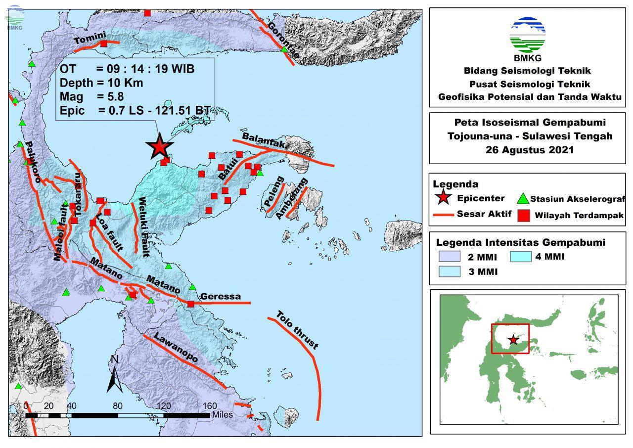 Peta Isoseismal Gempabumi Tojouna-una, Sulawesi Tengah 26 Agustus 2021