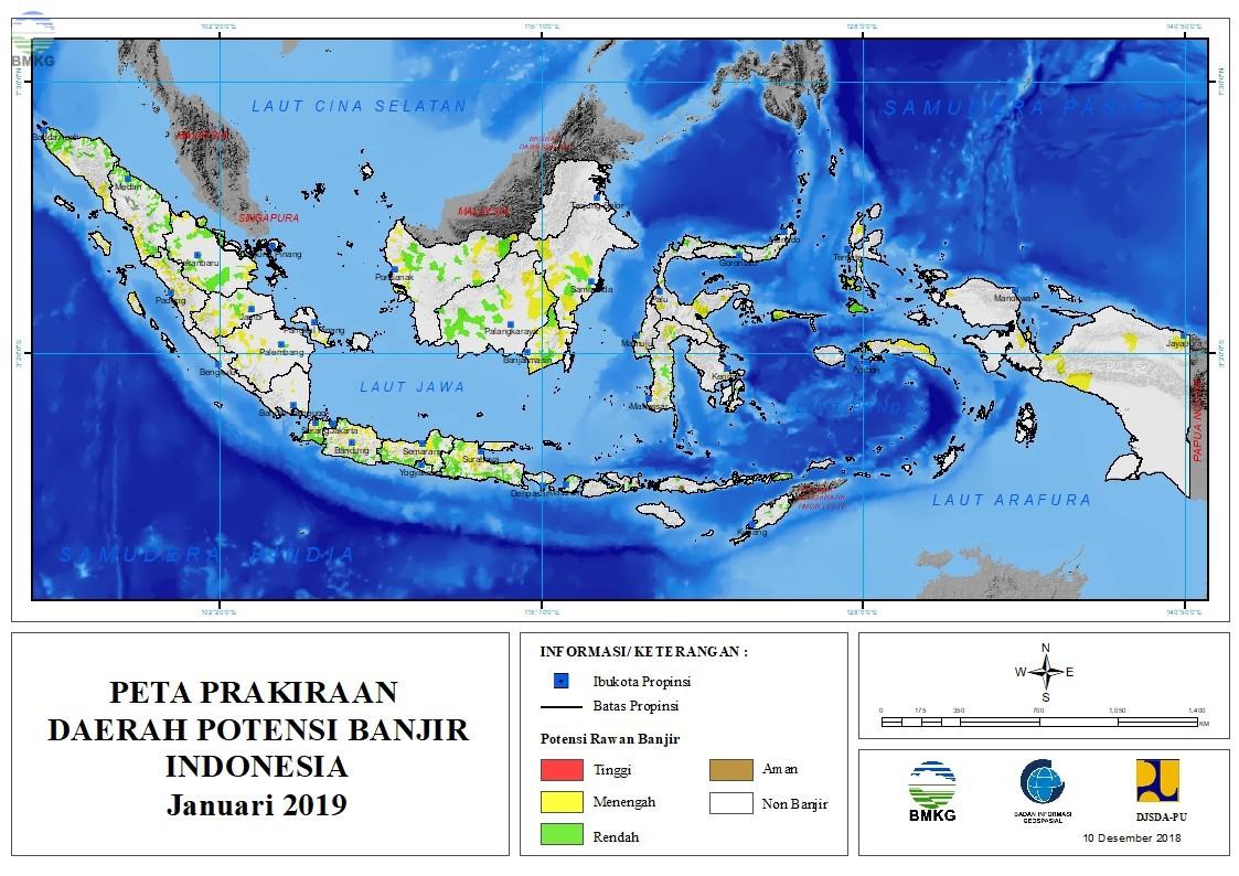 Prakiraan Daerah Potensi Banjir Bulan Januari, Februari dan Maret 2019