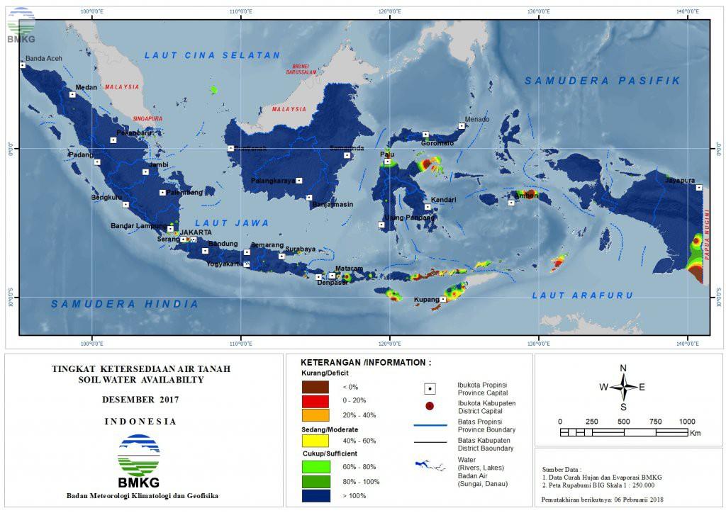 Ketersediaan Air Tanah di Indonesia Desember 2017
