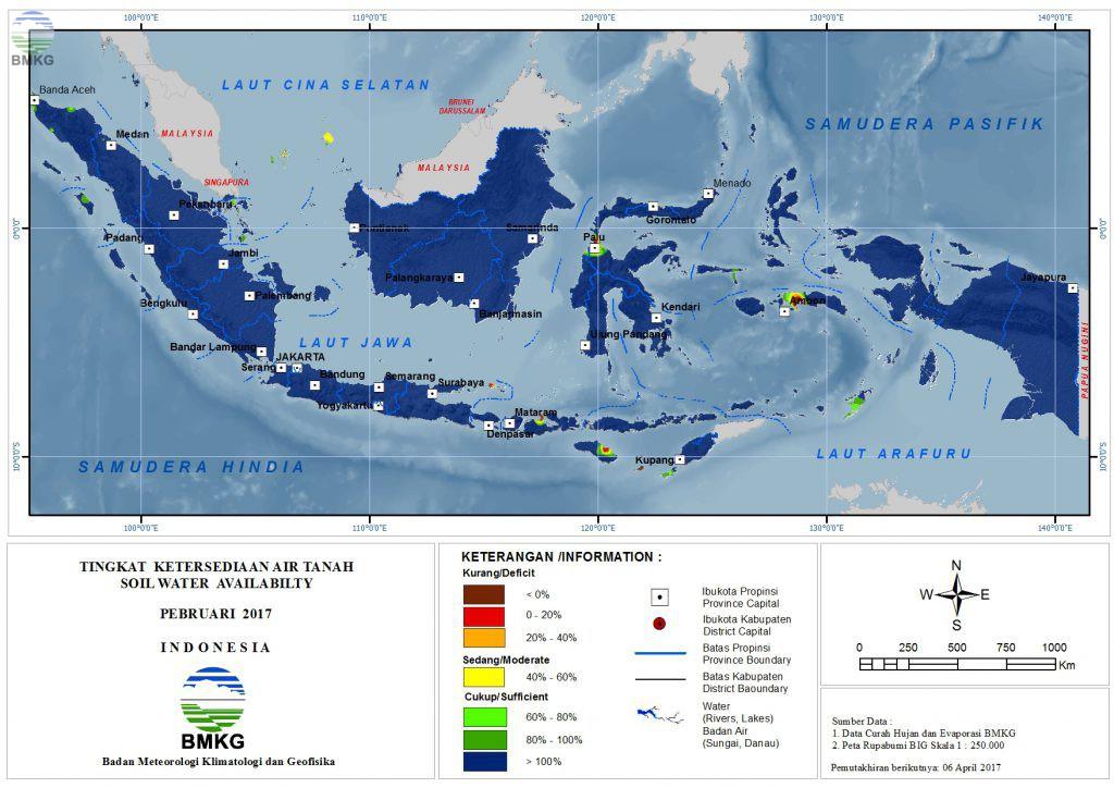 Ketersediaan Air Tanah di Indonesia Februari 2017 (Update : Maret 2017)