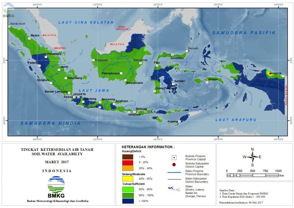 Ketersediaan Air Tanah di Indonesia Maret 2017 (Update : April 2017)