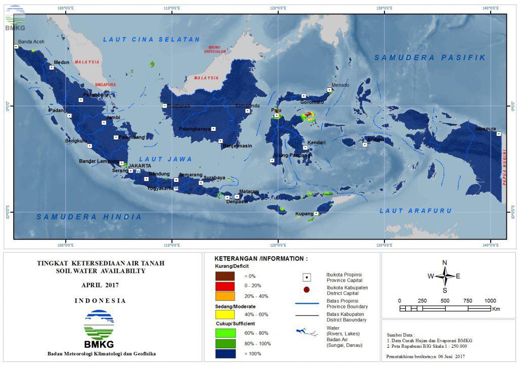 Ketersediaan Air Tanah di Indonesia April 2017 (Update Mei 2017)