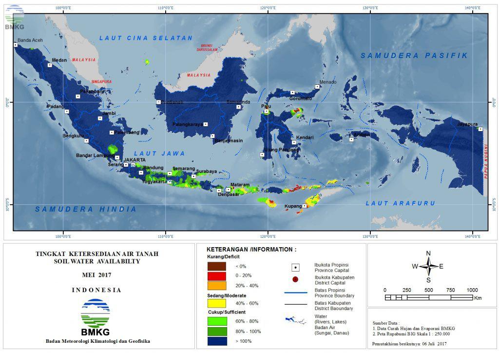 Ketersediaan Air Tanah di Indonesia Mei 2017 (Update Juni 2017)