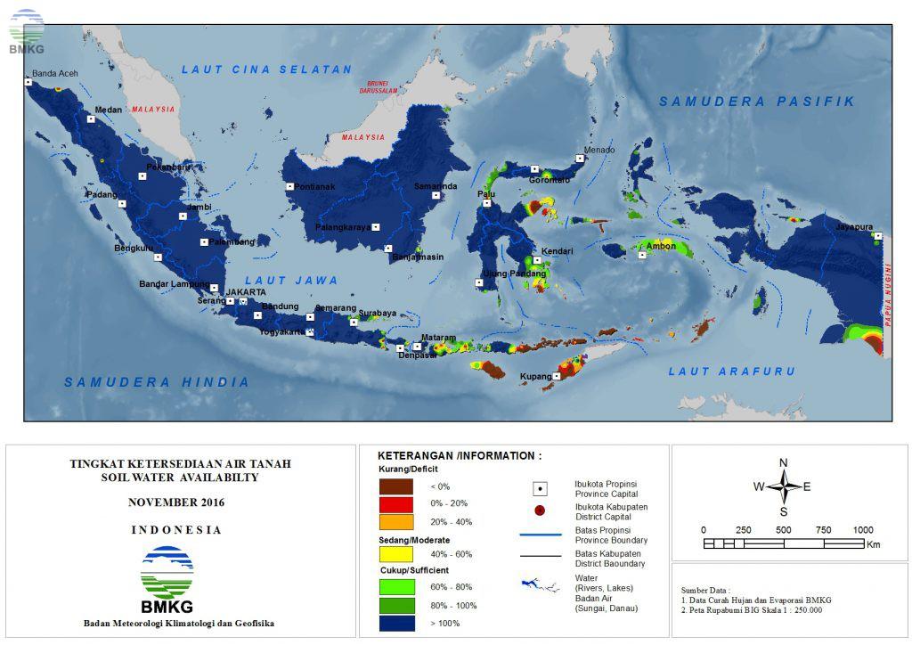 Ketersediaan Air Tanah di Indonesia (Update : November 2016)