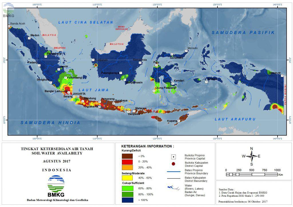 Ketersediaan Air Tanah di Indonesia Agustus 2017 (Update September 2017)