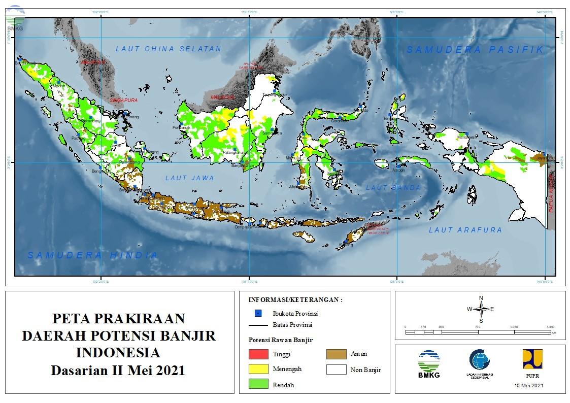 Prakiraan Daerah Potensi Banjir Dasarian II Mei - Das I Juni 2021